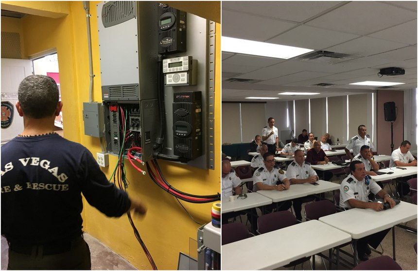 After Hurricane Maria caused the failure of the electrical grid across Puerto Rico in 2017, Birt spearheadeda disaster relief effort that resulted in 15 solar and battery micro grids being installed on strategically placed fire stations across the island to keep the emergency services operational. Here, Captain Birt leads first responders in solar/ESS training in Puerto Rico. (Photos/Richard Birt)