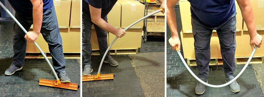 Briarwood Products tests its strong but flexible plastic mops and broom handles with each production run. The poles are bent and twisted to ensure that the products can withstand significantabuse, and that there are no stress marks after bending.