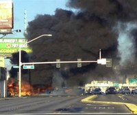 Las Vegas bus explosion and fire; 2 dead, 4 injured