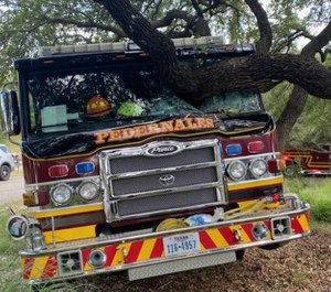 A Pedernales Fire Department engine crashed into a tree Saturday after its operator lost consciousness. (Photo/Pedernales Fire Department)