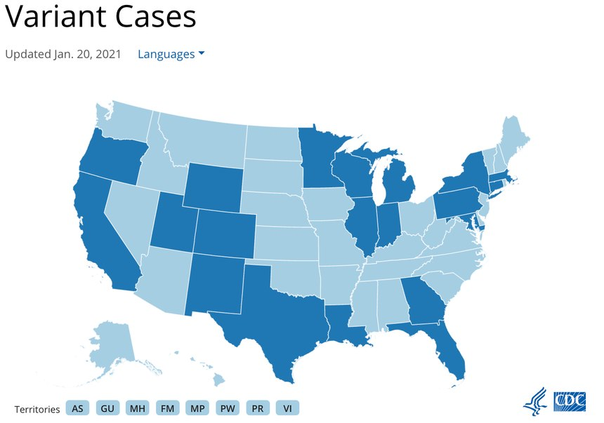 The CDC is tracking all variant cases found in the U.S. States colored dark blue have at least 1 confirmed case of a COVID-19 variant.