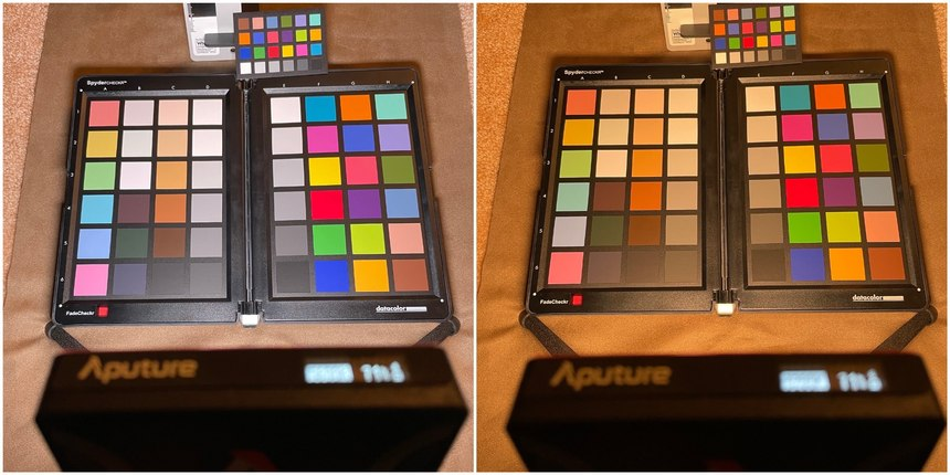 Figure 2: Each image from left to right and top to bottom: WhiBal G6 reference card, an X-Rite ColorChecker Classic Mini and SpyderCHECKR illuminated by an Aputure MC high-CRI lighting unit set to mimic daylight (left) and tungsten (right) without white balance correction. The daylight colors are accurate.