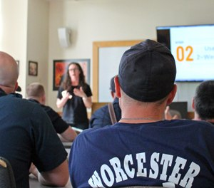 Worcester firefighters hear a 15-40 Connection presentation. (Photo/15-40 Connection)