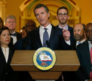 California Gov. Gavin Newsom discusses his decision to place a moratorium on the death penalty during a news conference at the Capitol, March 13, 2019, in Sacramento, Calif. (AP Photo/Rich Pedroncelli)