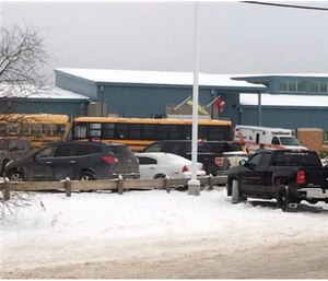 The outside of La Loche Community SchoolJan. 22. Prime Minister Justin Trudeau said the shootings occurred at a high school and another location but did not say where else.(Joshua Mercredi/The Canadian Press via AP)