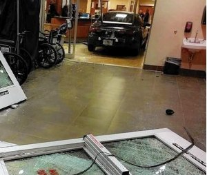 Early morning crash of a vehicle into the emergency department lobby.