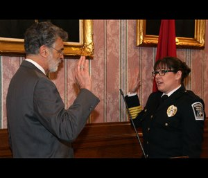 Nicole Carlton sworn in as the first female EMS commissioner of Cleveland (Photo courtesy of City of Cleveland)