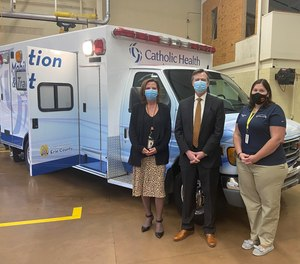 Pictured (left to right): Shari McDonald, Vice President, Patient Care Services, Mercy Hospital, CJ Urlaub, Catholic Health Senior Vice President of Strategic Partnerships, Integration & Care Delivery- Niagara County, and President of Mount St. Mary's Hospital, and Emily Rowles, Catholic Health lead EMS Liaison. (Courtesy photo)