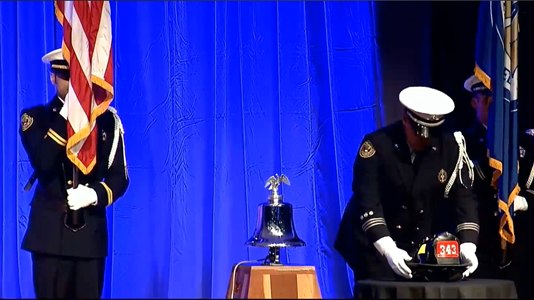 """The helmet reads """"343"""" to signify the number of FDNY firefighters who died in the line of duty on 9/11."""