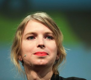 "Chelsea Manning attends a discussion at the media convention ""Republica"" in Berlin.  (AP Photo/Markus Schreiber, File)  Date:	May 09, 2019 8:00PM (GMT 01:00) Slug:	Chelsea Manning Headline:	Chelsea Manning Source:	AP Notes:	A MAY 2, 2018, FILE PHOTO"