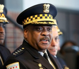 Chicago Police Superintendent Eddie Johnson speaks during a news conference Tuesday, March 26, 2019, after prosecutors abruptly dropped all charges against