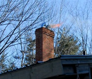 A chimney fire can produce an impressive pyrotechnic display.