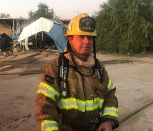 Firefighter Chris Wetzel helped an injured man escape the gunfire during the mass shooting in Las Vegas on October 1, 2017.
