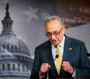 Senate Majority Leader Chuck Schumer of N.Y. speaks during a news conference on Capitol Hill in Washington.