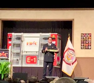 Famed fire illustrator Paul Combs, a lieutenant with the Bryan, Ohio, Fire Department likened the formation of a legacy in the fire department to the construction of a brick-and-mortar fire department, built one brick at a time with care, skill and expertise.(Photo/Kerri Hatt)