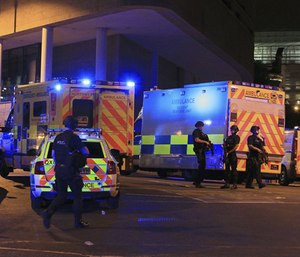Several people have died following reports of an explosion Monday night at an Ariana Grande concert in northern England, police said. A representative said the singer was not injured. (Peter Byrne/PA via AP)