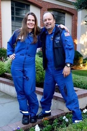 Cuneo with fellow flight medic and fiancee Kira Simon.