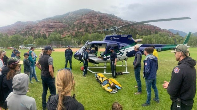 Mutual aid agreements go beyond emergency response by building relationships between communities. Here, multiple agencies participate in a helicopter transport familiarization training including Norwood Fire, Telluride Fire, Telluride Emergency Medical Technicians Association, San Miguel County Sheriff, U.S. Forest Service, and San Miguel County Search and Rescue.
