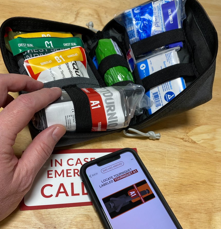 The contents of the Compact Rescue System are neatly labeled, allowing users of the app to quickly identify and deploy the right medical treatments.