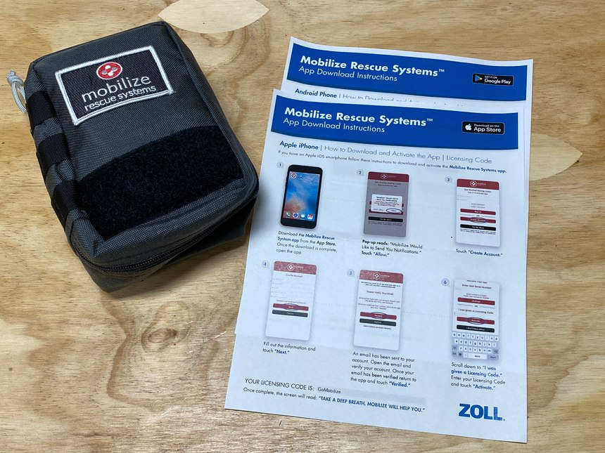 This medical kit works in conjunction with an app available for Apple and Android phones.