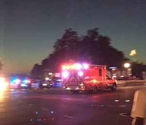 Ambulance responding to police officer shooting in Dallas Thursday.
