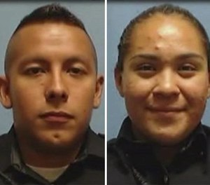 Officers Rogelio Santander, left, and Crystal Almeida, as well as a loss-prevention officer, were shot April 24 at a Home Depot.
