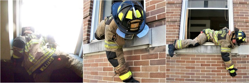 When bailing out fully geared, it will become important to maintain a low profile. Stay low when exiting the window. This will allow for a smoother transition and if heat conditions are an issue, the members will benefit from staying low. Secure your anchor with one hand. Place the head and a shoulder into a lower corner of the window frame as far and tight as possible. Use the free hand to slide and control your exit out of the window.