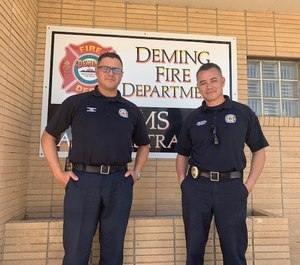 Deming Fire Department Chief Raul Mercado (left) and Battalion Chief Edgar Davalos share their experiences managing an influx of refugees to Deming, N.M. (Photo/Deming Fire Department)