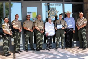 Detention Officer Roy Trejo (third from right) is recognized for saving an inmate's life from a fentanyl overdose.