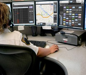 A dispatch console lets dispatchers manage relevant data and coordinate their response activities. (Image Harris)