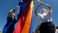 Calif. FFs, police help raise Pride flag at city hall, a first for the city