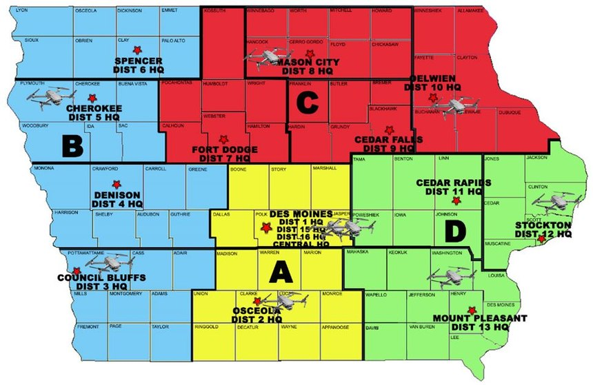 The Iowa State Patrol has nine GNSS receivers strategically placed throughout the state that are accessible to reconstruction teams.