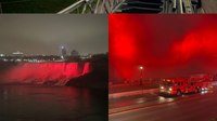 Photo of the Week: Niagara Falls shines red for International Firefighters' Day
