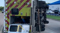 3 Texas first responders hurt after rig hit by car, overturns