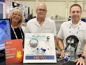 Mercury Medical accepts two 2019 Hot Products Awards at the 2019 EMS Today in National Harbor, Md. From Left, Deb Olson, director of marketing, Steven LeCroy, director of EMS sales and Scott Horowitz, senior product manager.
