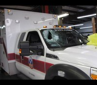 Ambulance attacked with chunk of concrete in Texas