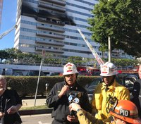 8 hurt, 1 critically, in fire at LA high-rise