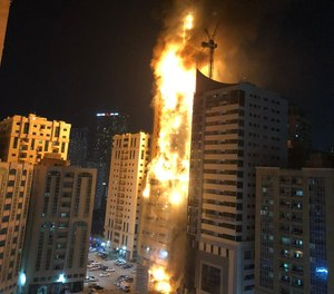 Nine people were injured in the blaze at the Abbco Tower in Sharjah's Al Nahda area, Sharjah government's media office said. (Photo/Vicky Kapur Twitter)