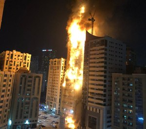 Nine people were injured in the blaze at the Abbco Tower in Sharjah's Al Nahda area, Sharjah government's media office said.