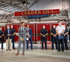 Acting Secretary of Homeland Security Chad Wolf visited Jacksonville Station 1 to discuss the SAFER grant program ahead of the deadline for the application period. (Photo/Secretary Wolf Twitter)