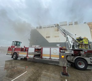 Eight Jacksonville Fire and Rescue firefighters were injured in an explosion during fire attack operations on a cargo ship at Blount Island. (Photo/Jacksonville Fire & Rescue)