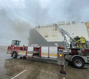 Eight Jacksonville Fire and Rescue firefighters were injured in an explosion during fire attack operations on a cargo ship at Blount Island.