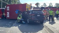 Houston rig flips in MVC during transport