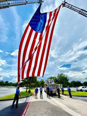 Houston firefighters prepare for the memorial service of Captain Tommy Searcy, who died from COVID-19 in September. (Photo/Houston Professional Fire Fighters Association)
