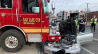 2 Salt Lake City FFs injured after car strikes apparatus