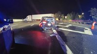 Tractor trailer hits Mass. State Police cruiser, seriously injuring trooper