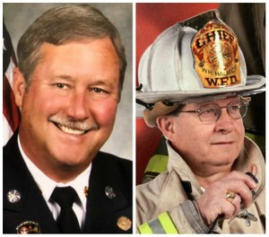 Pictured left to right: Alan Martin won the Career Fire Chief of the Year Award in 2014. Bill Halmich won the Volunteer Fire Chief of the Year Award in 2016.