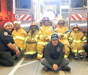The five children who visited EMS Station 32 with the Make-A-Wish Foundation.