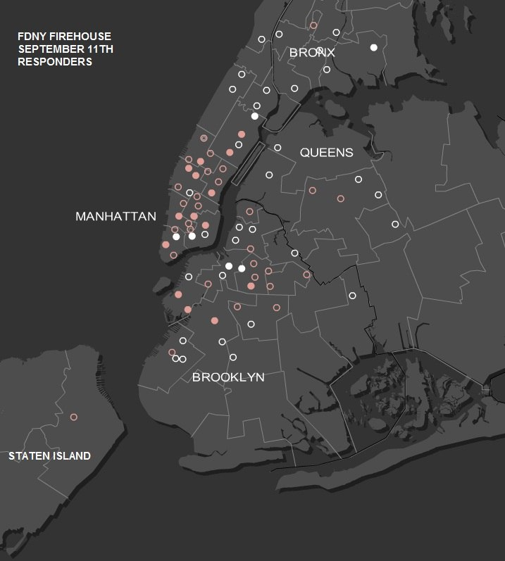 Map of FDNY's first-responding firehouses to the September 11 attacks. Circles show the location of the company responding; solid circles mean multiple companies. Rose-colored circles indicate companies with casualties.