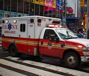Surveillance footage captured a man drawing symbols of hate on FDNY ambulances.